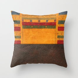 N68 - Oriental Traditional Moroccan Style with Original Leather Cover Artwork Throw Pillow
