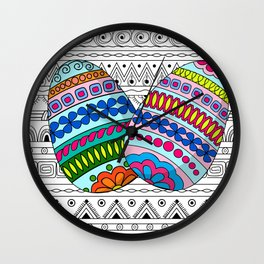 easter eggs on aztec pettern Wall Clock