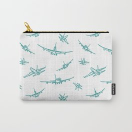 Teal Airplanes Carry-All Pouch