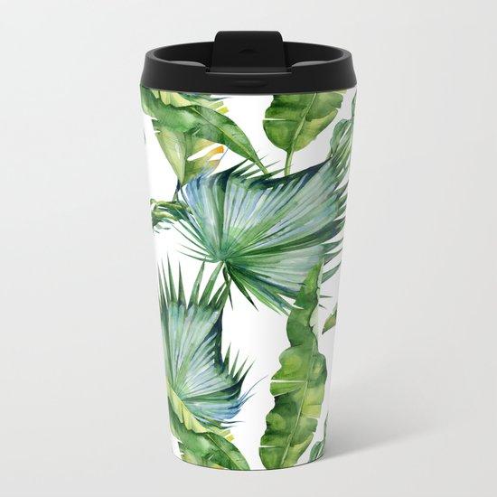 Tropical Island Plants on White Metal Travel Mug