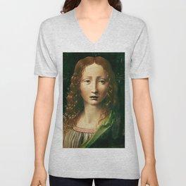 """Leonardo da Vinci """"Head of the Saviour"""" Unisex V-Neck"""