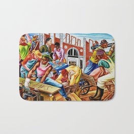 """African American Classical Masterpiece """"The building of Savery Library"""" by Hale Woodruff Bath Mat"""