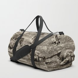 Horses taking a bath and relaxing Duffle Bag