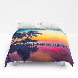 Miami sunset Comforters