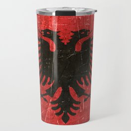 Vintage Aged and Scratched Albanian Flag Travel Mug