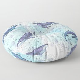 Big space whales light blue pattern Floor Pillow