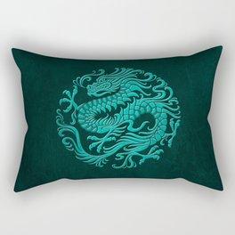 Traditional Teal Blue Chinese Dragon Circle Rectangular Pillow