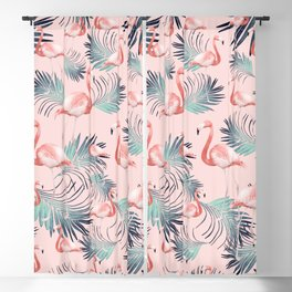 Blush Flamingo Palm Vibes #2 #pastel #tropical #decor #art #society6 Blackout Curtain