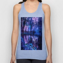 Enchanted Forest Lake Purple Blue Unisex Tank Top