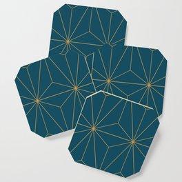 Peacock blue geometrical pyramid Coaster