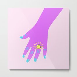 if you like it then you shoulda put a ring on it  Metal Print