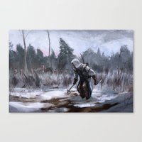 assassins creed Canvas Prints featuring Assassins Creed - Connor by Juhani Jokinen