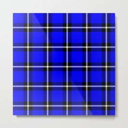 Solid blue #0000ff color themed plaid SCOTTISH TARTAN Checkered Fabric Pattern texture background Metal Print
