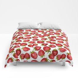 Watercolor Strawberries Comforters