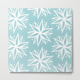 Aqua Menthe and White Bohemian Pattern  Metal Print