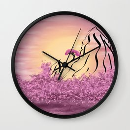 Schematic mountains and flowering Wall Clock