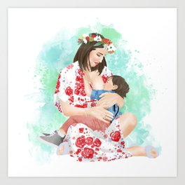 Colorful breastfeeding watercolor illustration or mother and son // attachment parenting and extended breastfeeding Art Print