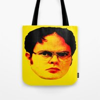 "dwight Tote Bags featuring Dwight Schrute ""FACT"" by Silvio Ledbetter"