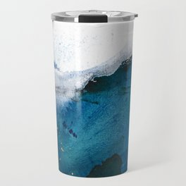 In the Surf: a vibrant minimal abstract painting in blues and gold Travel Mug