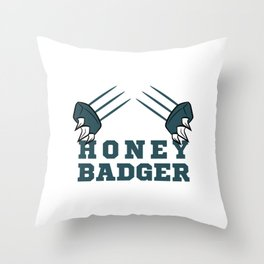 """Fear The Honey Badger""  tee with claw graphic design for honey  lovers yellow bee like you!  Throw Pillow"