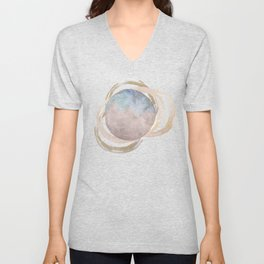 Abstract Circles Fake Glitter WatercolorSpace Design Unisex V-Neck
