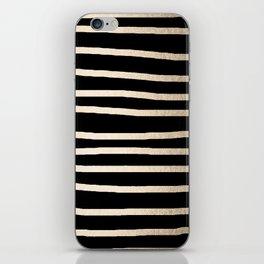 Simply Drawn Stripes White Gold Sands on Midnight Black iPhone Skin