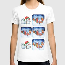Merry Christmas with snowman. T-shirt