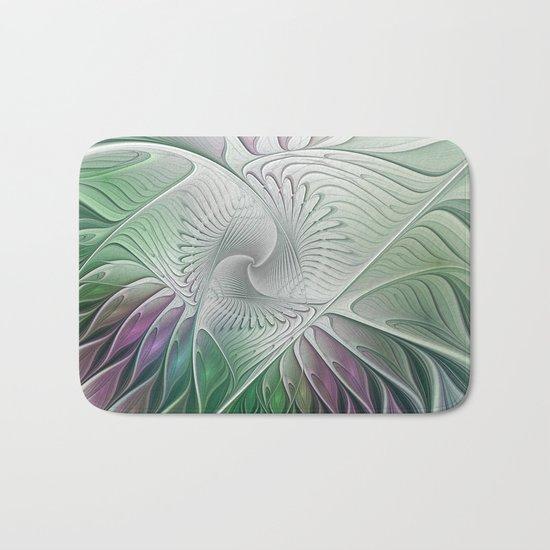Colorful Fantasy Flower, Abstract Fractal Art Bath Mat