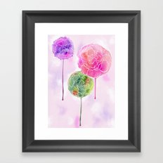 Succulent and Roses Framed Art Print