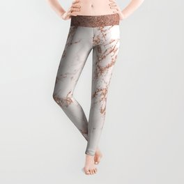 Elegant ivory gray rose gold glitter marble pattern Leggings