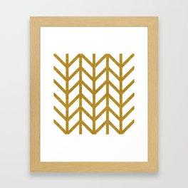 Herringbone Chevron (Chunky Metallic Gold On White) Framed Art Print