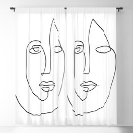 Abstract face One Line Art Blackout Curtain