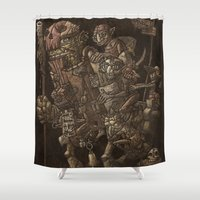 minions Shower Curtains featuring Moria taxi troll by Tomás Hijo