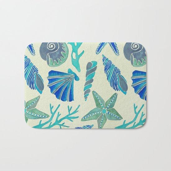 Blue Seashells Bath Mat