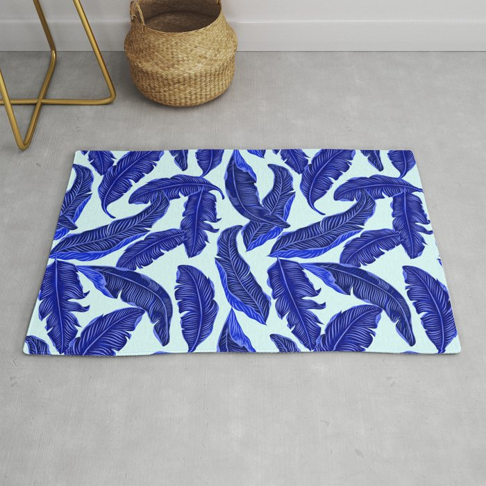 Banana leaves tropical leaves blue white #homedecor Rug