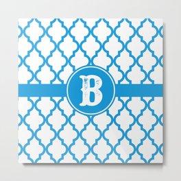 Blue Monogram: Letter B Metal Print