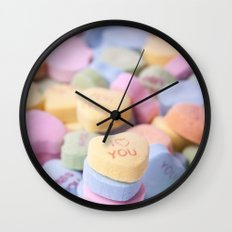 I Love You - Candy Hearts Wall Clock