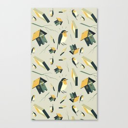 Flying Birdhouse (Pattern) Canvas Print