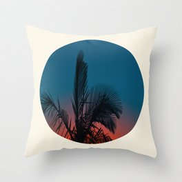 Pink & Blue Sunset With Palm Tree Silhouette Throw Pillow
