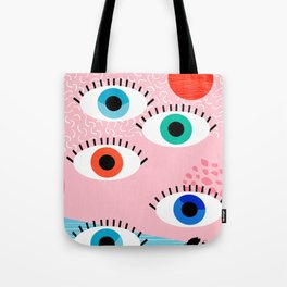 Noob - eyes memphis retro throwback 1980s 80s style neon art print pop art retro vintage minimal Tote Bag