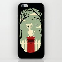yetiland iPhone & iPod Skins featuring Let's meet at the red post box by Yetiland