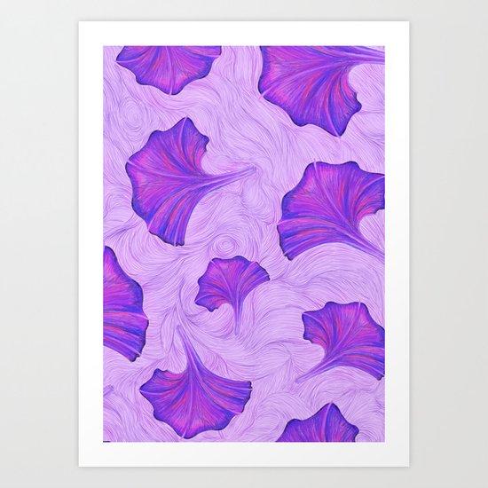 Purple Trumpet Flower Pattern - painting Art Print
