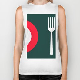 fork and plate Biker Tank