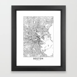 Boston White Map Framed Art Print