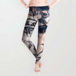 Flower Venom Black and White Leggings