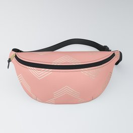 Simply Deconstructed Chevron White Gold Sands on Salmon Pink Fanny Pack