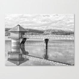 Cropston Reservoir Black And White Canvas Print