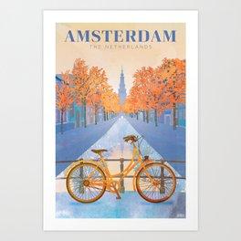 Netherlands, Amsterdam Travel Poster Art Print
