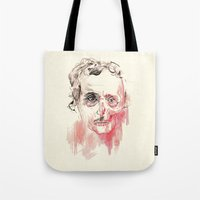 poe Tote Bags featuring Poe by Elena López Macías