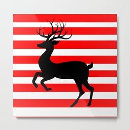 Reindeer On Candy Stripe Metal Print